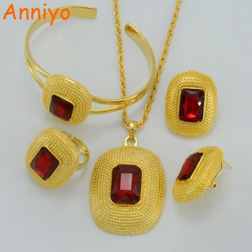 Anniyo Ethiopian Jewelry Sets Necklaces/Clip Earrings/Ring/Bangle Gold Color Africa Bride Wedding Habesha Eritrea Gift #000416
