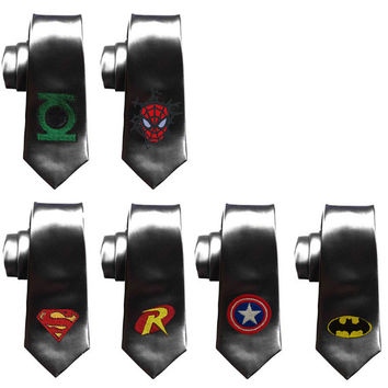 Superheroes, batman tie, Justice League Ties, Avengers ties, Geek Wedding ties, Grooms Comicbook skinny tie, superman, captain america, hulk