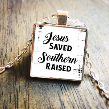 Jesus Saved Southern Raised Square Pendant Necklace