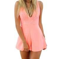 SUNNOW Women Sexy Celeb Deep Vneck Lace Playsuit Party Jumpsuit Shorts Hot Pants