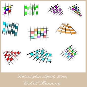Stained window clipart, 20 stained glass clip art, 10xPNG + 10xJPG, 300 dpi, Instant download, scrapbooking clipart overlays