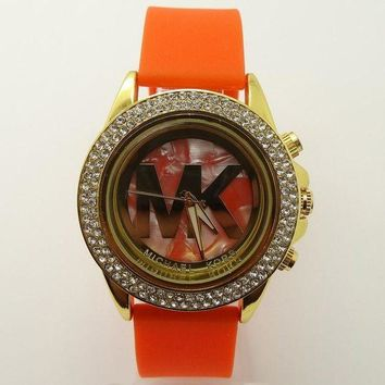 ONETOW MK Michael Kors men and women new stylish fashion candy strap F-SBHY-WSL Orange Watchband + Hollow Dila + Gold Case