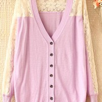 Sweet hook flower bud silkv-neck long-sleeve cardigan from Fanewant