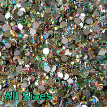2028NoHF Crystal AB Rhinestone for Nails Art All Sizes SS3-SS20-SS40 Sew Strass Stones and Crystals Glass Rhinestones