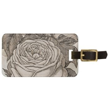 Vintage Rose Design Bag Tag