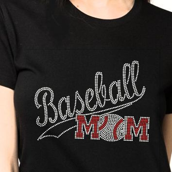 Bling T-Shirt  for Women Baseball Moms Design, Bling T-Shirt , Women. friends, Party, cheers, Quote