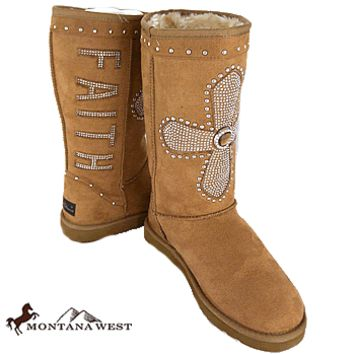 CLEARANCE Montana West Tan FAITH Cross Boots