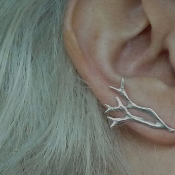 Seaweed Ear Pin Earrings, Sterling Silver Antler Ear Crawlers, Tree Ear Cuffs, Silver Vine Ear Sweep Climbing Earrings, Mermaid Jewelry