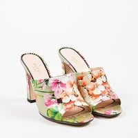"Gucci Silver and Pink Leather Floral ""Soft St. Blooms"" Mule Sandals"