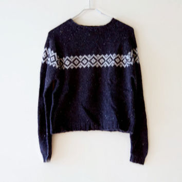 Vintage 90s Cropped Knit Sweater by Weathervane - Grey and Dark Gray Fair Isle Sweater - Boxy, Comfy, and Cozy Knitted Nineties Sweater
