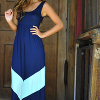 HOPE'S: Chevron Maxi Dress: Navy/Mint | Hope's