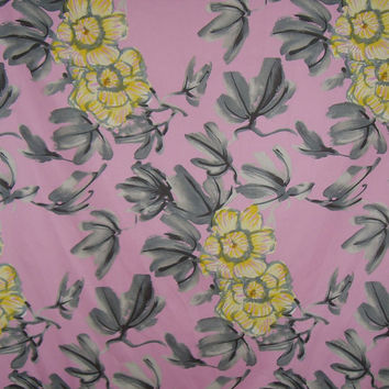Pink with Yellow and Gray Floral Print Pure Cotton Sateen Fabric--One Yard