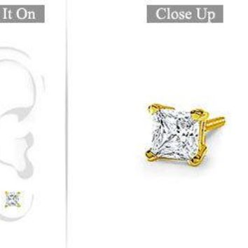 Mens 18K Yellow Gold : Princess Cut Diamond Stud Earring - 0.50 CT. TW.