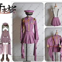 New Vocaloid Miku Senbon Sakura Cosplay Costume Uniform