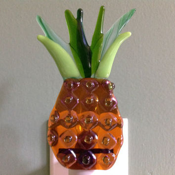 Fused Glass, Pineapple, Kitchen, Tropical, Fruit, Night Light