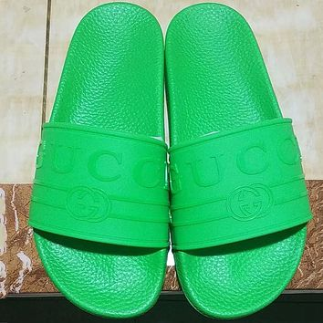 GUCCI 2018 summer counter new men and women with the same beach shoes slippers F-ALS-XZ green