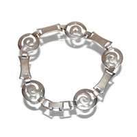 Sterling Silver Spiral Link Bracelet Vintage Geometric Jewelry Accessories Minimalist Loose-Fitting Design Gift for Her