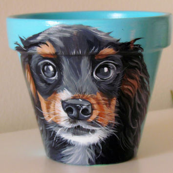 Dog flower pot pet painting pet portrait hand painted dog painting dog flower pot animal flower pot painting