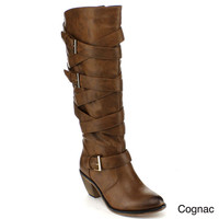 Blossom Women's 'Beata-6' Buckle Criss-cross Strap Knee-high Boots
