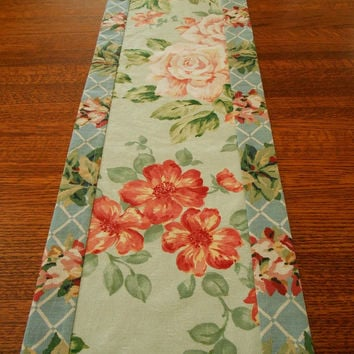 Floral Table Runner in Blue and Coral, Shabby Cottage Chic Table Linens, Vintage Look Table Linens, Upcycled Linens, Green Blue and Peach