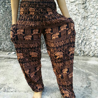 Trousers Yoga Harem Pants Elephant Print fabric Gypsy Hippies Baggy Boho Fashion chic exercise clothing Gypsy Tribal Clothes Summer orange