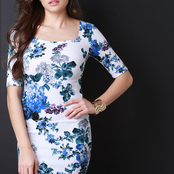 Floral U-Neck Bodycon Mini Dress
