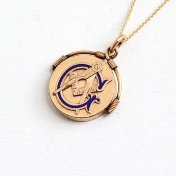 Shop spinner necklace on wanelo antique 10k gold filled masonic pendant fob early 1900s mason blue enamel spinner mens necklace aloadofball Gallery