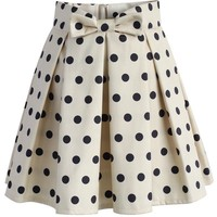 Sweet Your Heart Polka Dots Skirt in Beige
