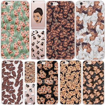 Funny Head Kim Kardashian Kanye Kimoji Soft Silicone Case For Apple iPhone 8 Plus 7 Plus 6 6S Plus 5 5S SE Back Cover Phone Case