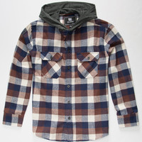 Elixir Hawk Boys Hooded Flannel Shirt Brown  In Sizes