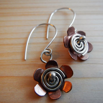 Copper and Sterling Silver Flower Earrings, Hand Made Spiral Flower Jewelry Gift for Her Made to Order Girlfriend Bridesmaid Teenager Gift