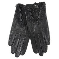 WARMEN Women's Genuine Lambskin Comfortable Perforated Leather Driving Gloves Laced Up