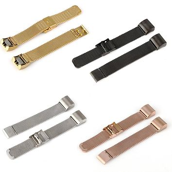 Luxury Magnetic Milanese Loop Stainless Steel Smart Wristband Strap Replacement Bracelet Watch Strap For Fitbit Charge 2