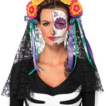 DCCKLP2 Day of the Dead flower headband with lace veil in MULTICOLOR