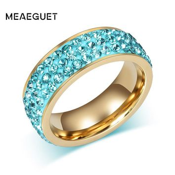 Meaeguet Trendy Women Crystal Rings Gold-Color Stainless Steel Wedding Rings For Women Jewelry Pink Blue Rings