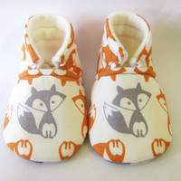 Little Piggies Baby Shoes- Grey and Orange Fox Baby Boy Shoes