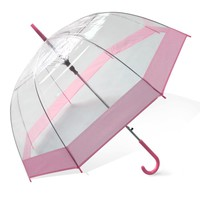 Landisun Transparent Rain Umbrella Parasol PVC Dome For Wedding Party Favor (Pink Trim)