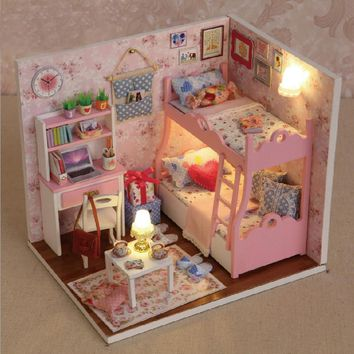 Dollhouse diy kits set  with LED Light Kids Grils bed room with bunk beds
