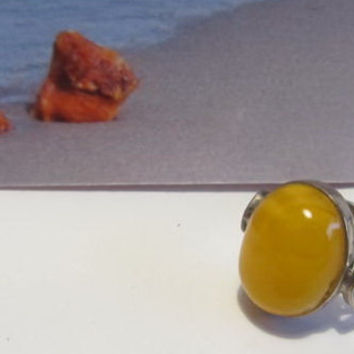 Natural #Antique #Vintage #Baltic #Amber #silver #Ring, 3.8 grams #yellow egg yolk butterscotch  #polished  opaque  #oval shape for adult