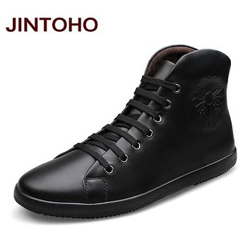Men Shoes Fashion Black Men Boots Pointed Toe Genuine Leather Hording Riding Boots Men Shoes With Fur