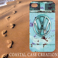 Apple iPhone 4 4G 4S 5G Hard Plastic Cell Phone Case Cover Original Trendy Stylish Turquoise Volkswagon VW Bus Design