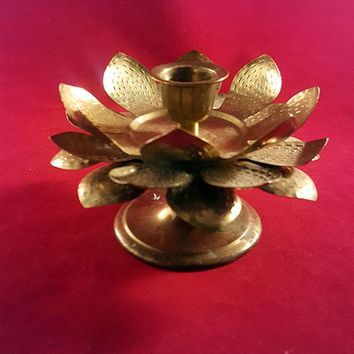 Tin And Brass Lotus Flower Candle Holder