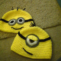 Despicable Me Minion Beanie or Earflap Hat with Ties made to order