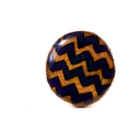 Chevron Ring | Wooden Ring | Wood Burned Ring | Trendy Chevron Jewelry | Purple Chevron | Adjustable Ring Band | Natural Wooden Jewelry