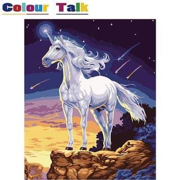 16 DIY Oil Painting by Numbers Horse with Frame Drawing Kits Animals Unicorn Paint On Canvas Painting Calligraphy Art Picture