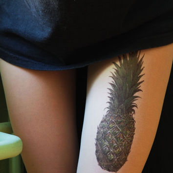 pineapple, pineapple tattoo, tights, tattoo tights
