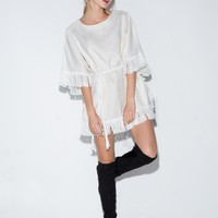 Ivory Fringe Waist Tie Dress