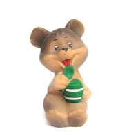 Soviet bear animal rubber toy eating honey collectibles kids brown green collectibles toys