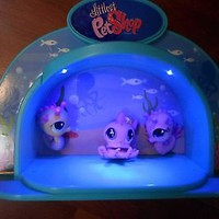 little pet shop light up stage/aquarium w 2 sea horse & pink octopus,blue light