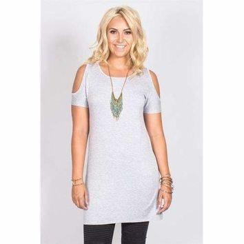 Open Shoulder Tunic - Grey - S